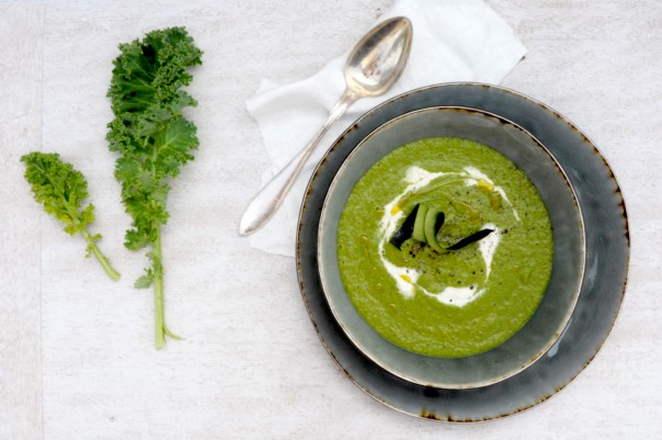 Green Galore - Raw Kale soup w ginger cream @Earthsprout.com