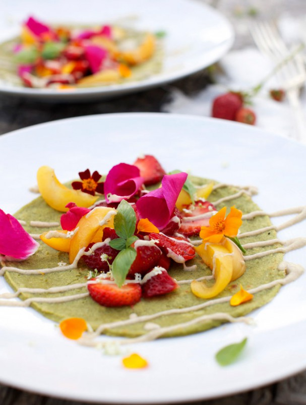 Miraculous Green Crépes w raw vanilla hemp sauce and edible flowers @Earthsprout.com