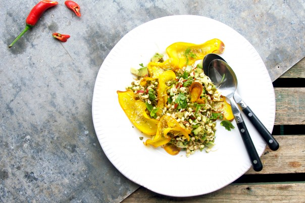 Magical mung bean sprouts + zucchini coconut chips at www.Earthsprout.com