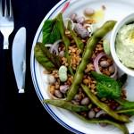 Warm bean & farro salad w horseradish cream