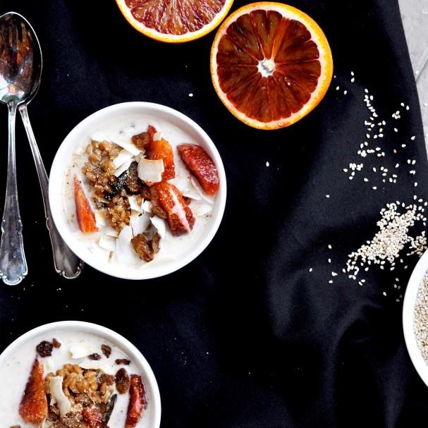 Sesame Milk w Vanilla/Maca Farro Porridge www.Earthsprout.com