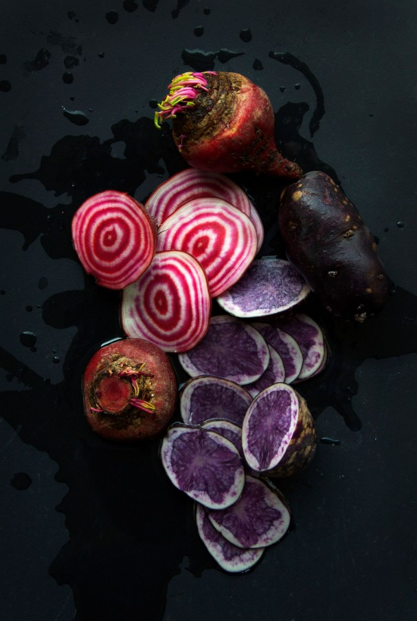 Rainbow root salad w Purple Potato Purée + Spirited Fashion at www.Earthsprout.com
