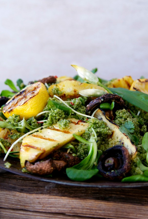 Ramps Smothered Quinoa w Grilled Pineapple & Shrooms at www.Earthsprout.com