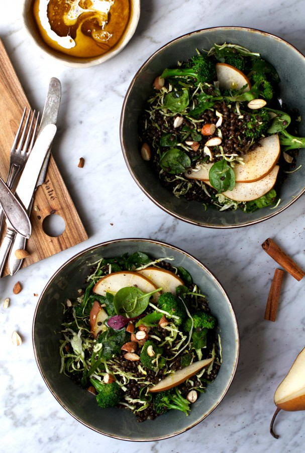 Warm Lentil & Pear Winter Salad w Freshly Grated Cinnamon at www.Earthsprout.com