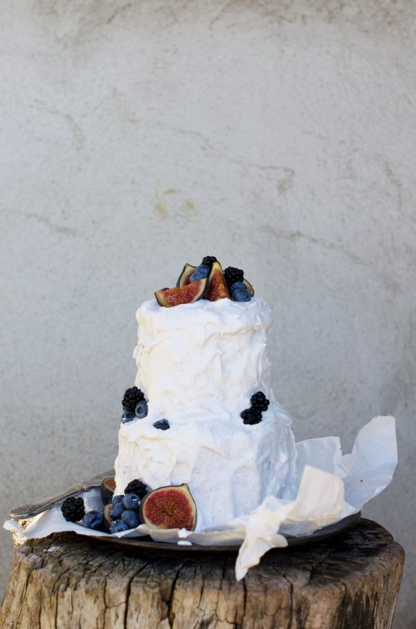 Towering Watermelon Cake w Coconut Whip @www.Earthsprout.com