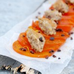 Roasted Chestnut Butter on Persimmon Carpaccio
