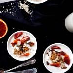 Luxurious porridge w sesame milk + flat on the groud