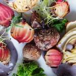 Colour Craze Salad w Blue Potato Pureé + Spirited Fashion