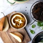Warm Lentil & Pear Winter Salad w Freshly Grated Cinnamon