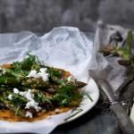 Asparagus + Caramelized Onion Socca á la Sarah B
